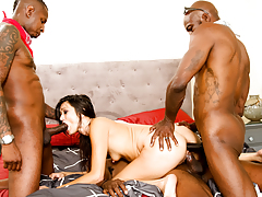 Ebony guy and his cousins gangbang the nasty slut Cece Stone