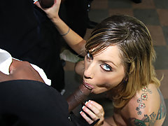 Street interracial gangbang! 1 white girl - 10 black monster cocks! Extreme bukkake