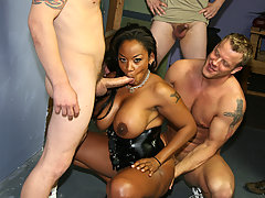 Big tits black girl gets white facial cum bukkake
